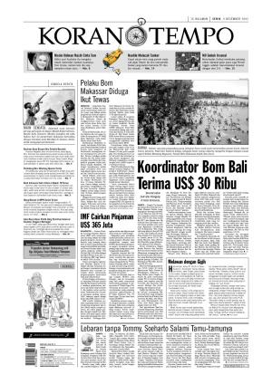 Koordinator Bom Bali Terima US$ 30 Ribu