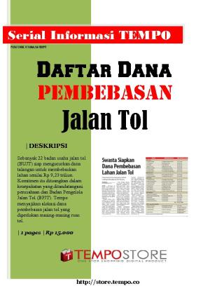 Daftar Dana Pembebasan Jalan Tol